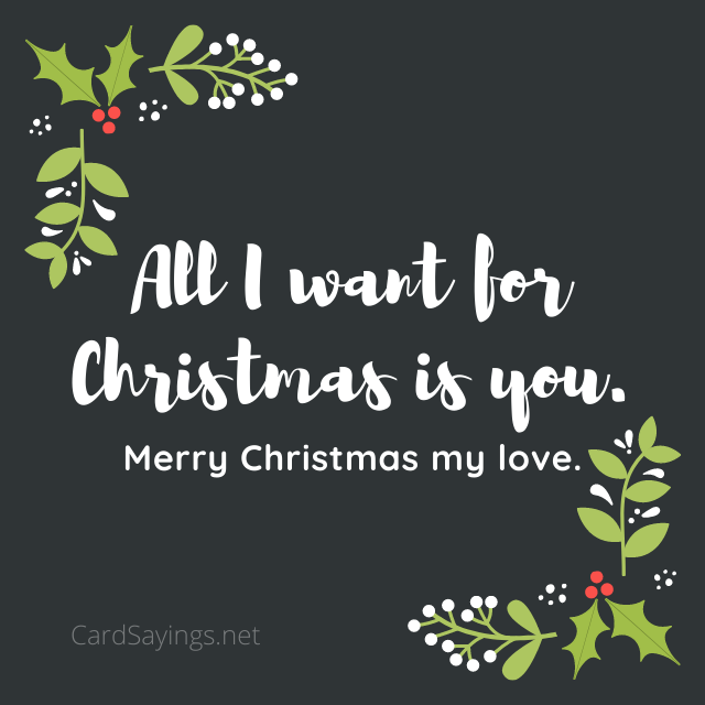 """Instagram image saying """"All I want for Christmas is you. Merry Christmas my love."""""""