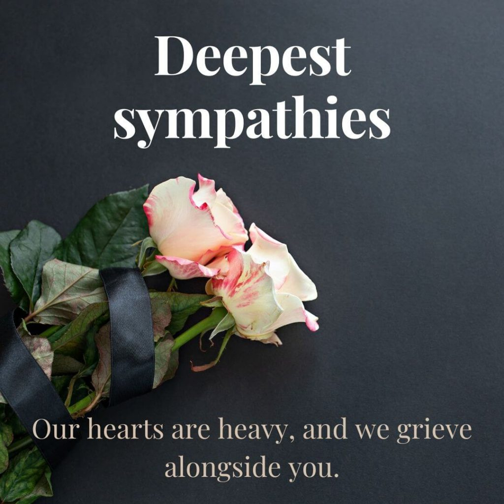 deepest sympathies graphic sized for instagram sympathy card