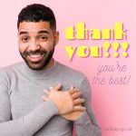 Latin man with hands on heart saying thank you with pink feminine background